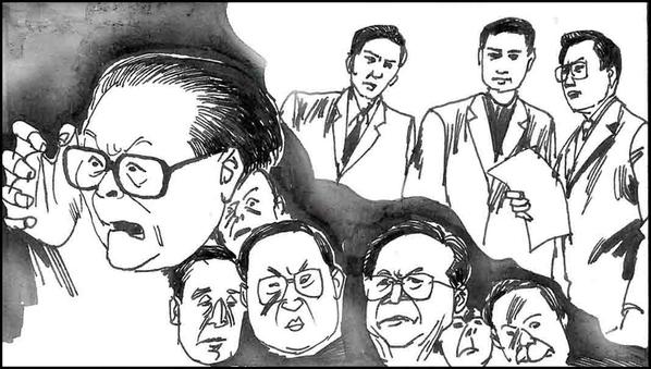 除了江泽民本人外,江迫害法轮功的追随者罗干、周永康、刘京、李岚清、曾庆红、薄熙来等纷纷遭到起诉。他们中很多人被起诉十几次之多。(图片取自《江泽民其人》连环图