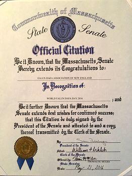 美国麻萨诸塞州参议院颁发的褒奖状(明慧网)