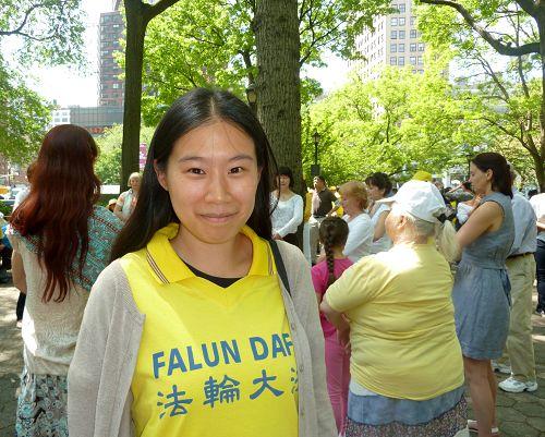 在意大利求学的唐云燕参加二零一六年五月在纽约举办的法轮大法日庆祝活动。(明慧网)