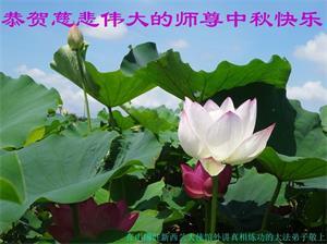 在中國駐紐西蘭大使館外講真相煉功的大法弟子恭賀師父中秋好!